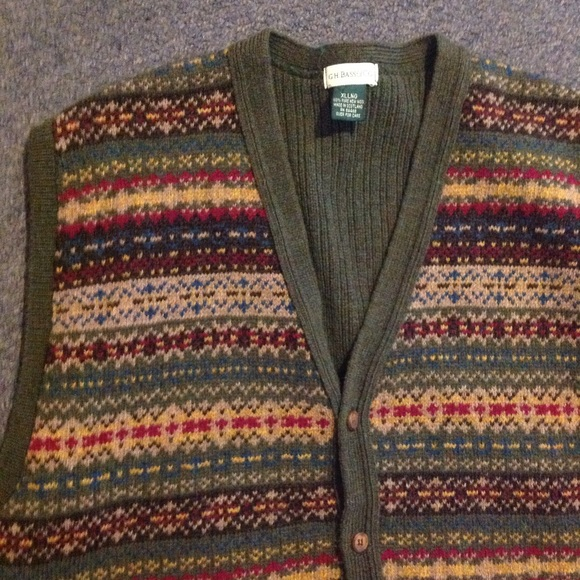 Men's Christmas Green Wool Fair Isle Sweater Vest XL from Judy's ...