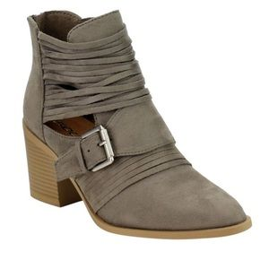 Smoky Taupe Strappy Bootie