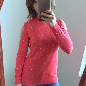 Thalia Sodi Sweaters - Thalia Sodi Studded Cold Shoulder Garden Pink