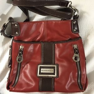 Red &  Brown Franco Sarto purse: 5 zippers & more
