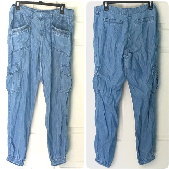 New York & Company Pants - Chambray Joggers Cargo Pants 8 Blue