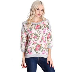Cream Floral French Terry Sweater