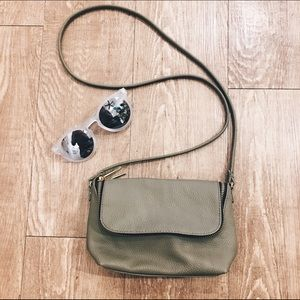 H&M Olive Green Faux Leather Crossbody Bag