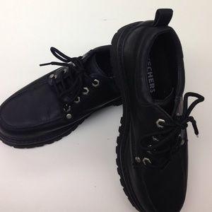 Skechers Other - 💜SALE💜 Skechers Leather Upper Black Shoes