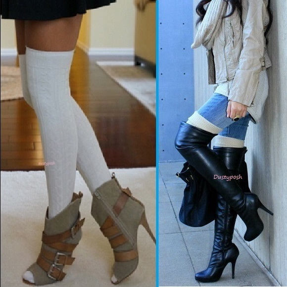 cabbe4b31 Cable Knit Over The Knee Socks Thigh High Boot OTK