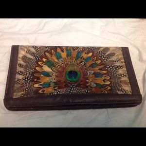 Vintage Peacock Feather Clutch