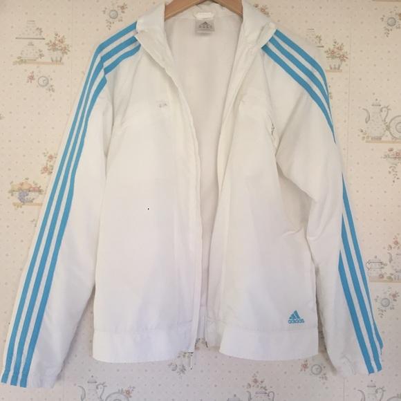 f54c1c67 Adidas Jackets & Blazers - Adidas Women's White and Blue Stripe Track Jacket