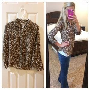 J Crew Perfect Cheetah Print Button Up Shirt
