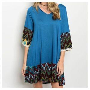 Dresses & Skirts - New- Teal Rust Mustard Dress