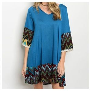 Dresses & Skirts - New- Teal Rust Mustard Dress