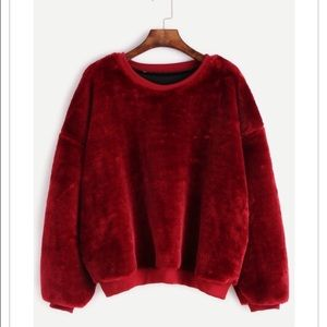 Sweaters - LAST ONE!! Burgundy Dropped Shoulder Seam Fuzzy S