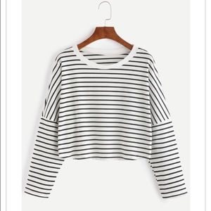 Tops - Striped Dropped Shoulder Crop Tee