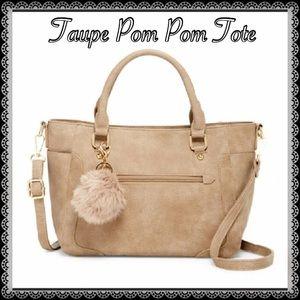 Pink Haley Handbags - 💝Taupe Tote with Pom Pom