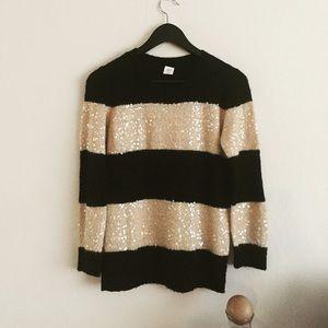 Color block sequins sweater