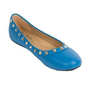 Tory Klein Shoes - Tory K Women studded ballerina flats, b-1616 Blue