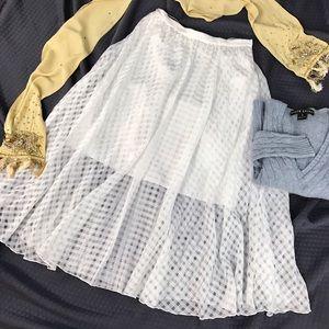 Tibi Dresses & Skirts - Tibi White Checked Sheer Overlay Silk Skirt