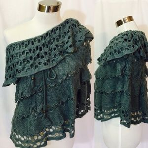 Passion of Essense Tops - Off The Shoulder Crochet Tunic
