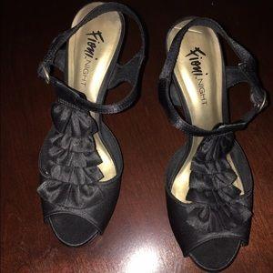 Black satin ruffle heels
