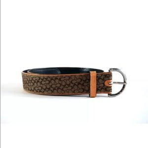 Coach size small brown signature C wide belt