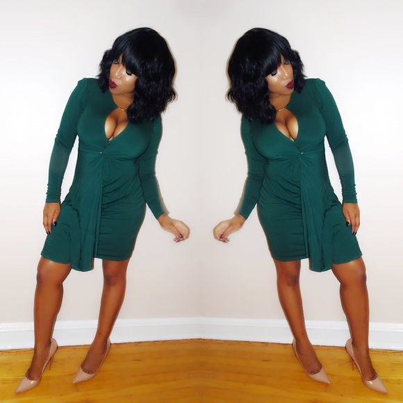 bebe Dresses & Skirts - Bebe Hunter Green Bodycon Dress