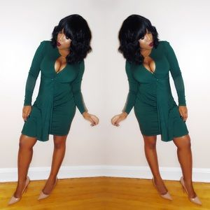 Bebe Hunter Green Bodycon Dress