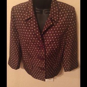 Brown Polka Dot Jacket with 3/4in Sleeves