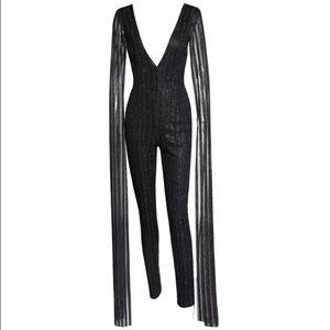 Pants - Maxi Sleeves Glitter Sequin Jumpsuit-Black (Large)