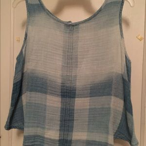 Anthropologie cloth and stone chambray crop top m