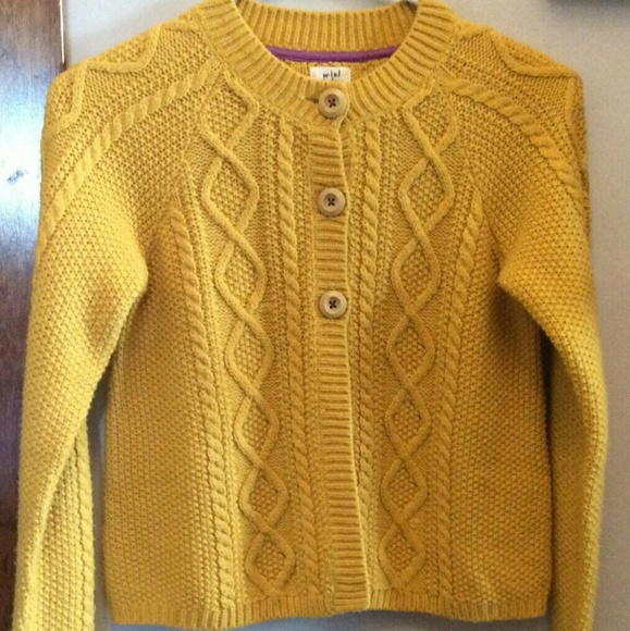 Mini Boden Shirts Tops Mustard Cable Knit Cardigan 45 Poshmark