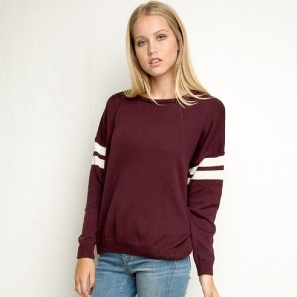 Brandy Melville Sweaters , Brandy Melville Burgundy Sweater with White  Stripe