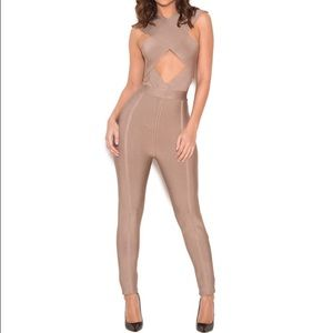 Pants - Crossover Bandage Jumpsuit - Nude (Small)
