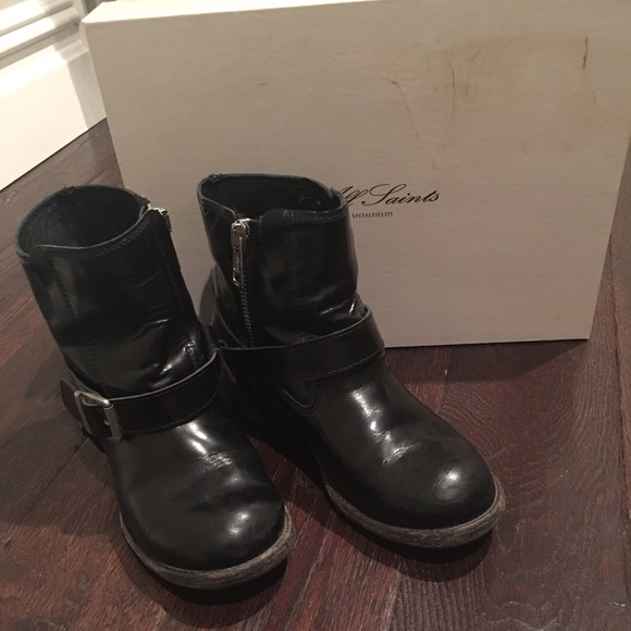 555c9dca22 All Saints Shoes - All Saints Black Leather Jules Biker Boot