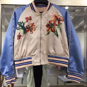 Bomber jacket satin pink and blue hibiscus 🌺