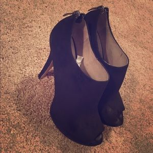 New Vince Camuto black suede peep toe booties!