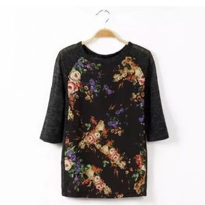 ZARA Floral Knotted Top. Size Medium. NWT
