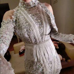 Dresses & Skirts - Embellished Sequin Rhinestone Dress-White (Small)