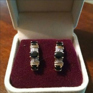 Zales Jewelry - 14k Gold Sapphire and diamond earrings
