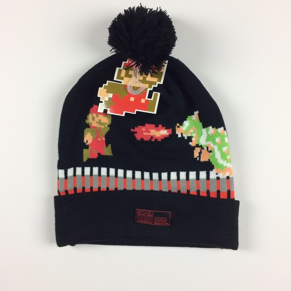 e048ffdf3be SUPER MARIO BROS NES BOWSER KNIT HAT BEANIE BOYS
