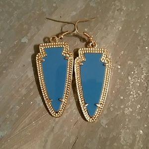 Teal and gold arrowhead earrings