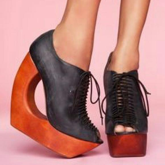 Jeffrey Campbell Wooden Lace Up Platform Heels