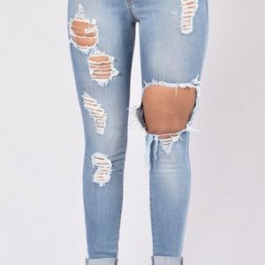 Fashion Nova Denim - Glistening Jeans Medium Blue