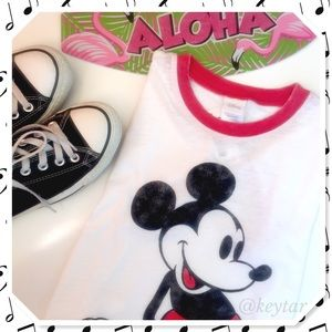 Disney Tops - NWT Mickey Mouse Red Ringer Vintage Graphic Tee