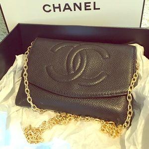 CHANEL Handbags - 💯mini CC logo wallet clutch flap caviar woc chain