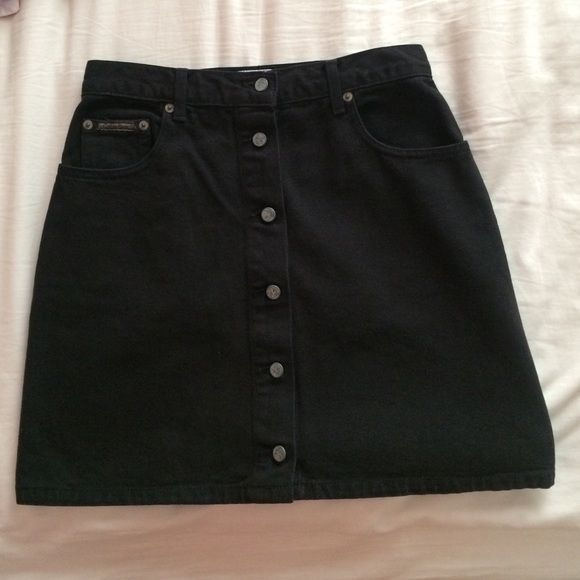 a43df28d99 Calvin Klein Skirts | Iso Vintage Black Denim Skirt Buttons | Poshmark
