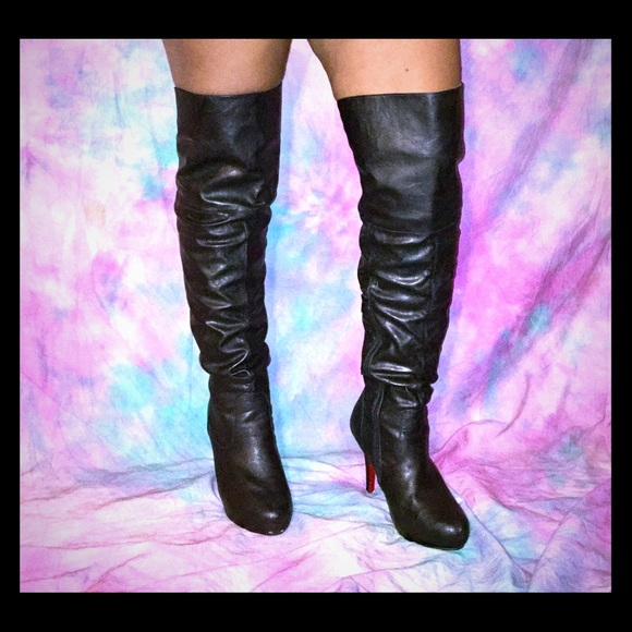 13fa211a454 Faux leather red bottom thigh high over knee boots