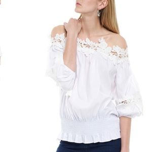 Cotton top white off the shoulder elastic on waist