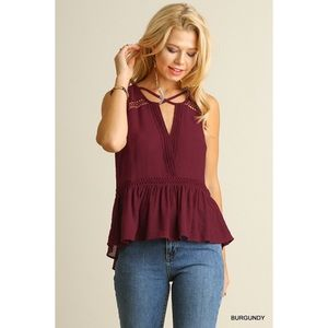 Hannah Beury Tops - Sleeveless Top with Split Neckline