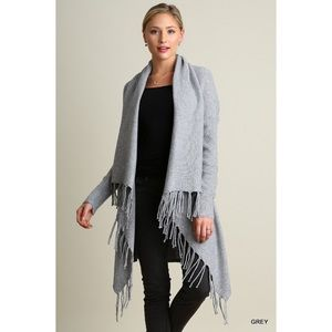 Hannah Beury Sweaters - Long Sleeve Open Front Cardigan with Fringe Detail