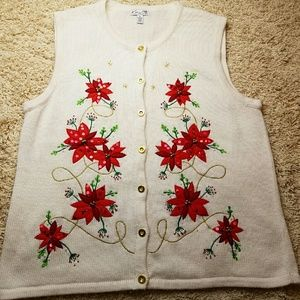 Kim Rogers Sweaters - Poinsettia Cardigan Sweater Vest