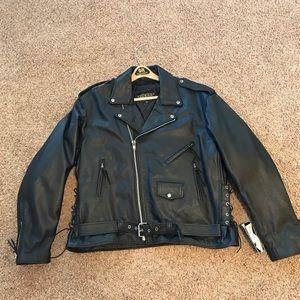 NWT Unik Genuine Leather Black Riding Bike Jacket
